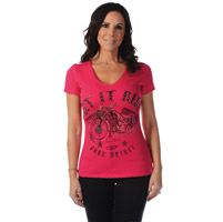 Liberty Wear Women's Let It Ride Fuchsia V-Neck T-Shirt