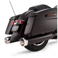 S&S Cycle MK45 4.5″ Mufflers Jet-Hot Black, Chrome Thruster End Cap