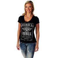 Liberty Wear Women's American Rebel Black V-Neck Top