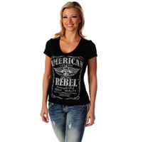 Liberty Wear Women's American Rebel Black V-Neck Top