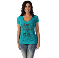 Liberty Wear Women's American Rebel Jade V-Neck Top