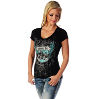 Liberty Wear Women's Route 66 Black V-Neck T-Shirt