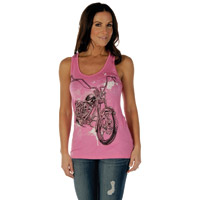 Liberty Wear Women's Splatter Bike Pink Cut Out Back Tank Top