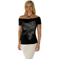 Liberty Wear Women's Wicked Elegance Black Off Shoulder Top