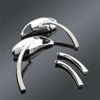 J&P Cycles Chrome Teardrop Mirror Set with Dual Radius Stem