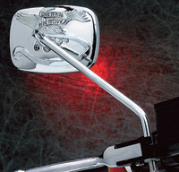 Chrome 'Live to Ride' Rectangular Long Stem Mirror