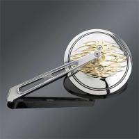 Gold Over Chrome Round Flame Mirror with Slotted Stem