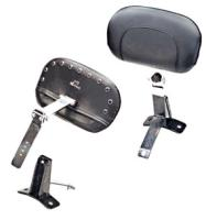Mustang Smooth Driver Backrest Kit With Black Pearl Studs
