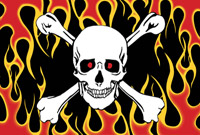 Rumbling Pride Skull and Crossbones 6″ x 9″ Flag