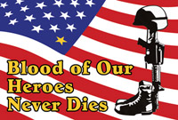 Rumbling Pride Blood of Our Heroes 6″ x 9″ Flag