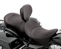 Drag Specialties Forward-Positioning Double Bucket Seat w/ Mild Stitch and Ez Glide I Backrest