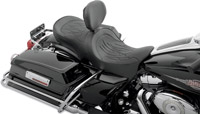 Drag Specialties Forward-Positioning Double Bucket Seat w/ Flame Stitch and Ez Glide I Backrest
