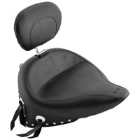 Mustang Wide Studded Style Solo Seat with Built-In Driver Backrest