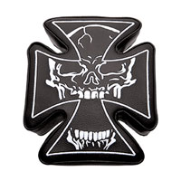 Stick-On Maltese Cross Passenger Pad with White Skull Stitching