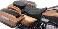 Drag Specialties Solo Passenger Seat with Flame Stitching