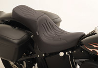 Drag Specialties Predator 2-Up Flame Stitch Seat for Softail