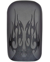 Phantom Pad Small Solid Embroidery Vinyl Flame Black Passenger Seat