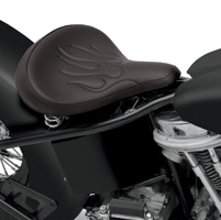 Drag Specialties Large Spring Solo Seat with Black Vinyl and Flames