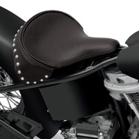 Drag Specialties Large Spring Solo Seat Black Solar-Reflective Leather with Studded Leather Skirt