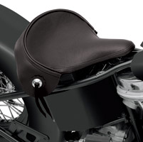 Drag Specialties Large Spring Solo Seat with Black Solar-Reflective Leather with Leather Skirt and Conchos