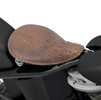 Drag Specialties Brown Leather Faux Alligator with Embossed Back Pattern Solo Seat