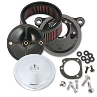 S&S Cycle Stealth Air Cleaner Kit with  Chrome Bobber Domed Cover