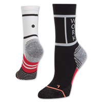 Stance Women's Work Hard Crew Cut Black/White Socks