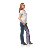 Gravitate Women's Denim/Purple Skulls Motorcycle Jeans