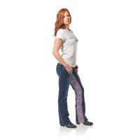 Gravitate Women's Denim/Purple Skulls Motorcycle Jeans