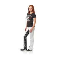 Gravitate Women's White/Black Skulls Motorcycle Jeans