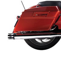 Rinehart Racing 3-1/2″ Slip-On Mufflers Chrome with Black Castle End Caps