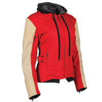 Speed and Strength Women's Double Take Red/Cream Textile/Leather Jacket
