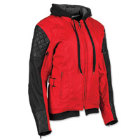 Speed and Strength Women's Double Take Red/Black Textile/Leather Jacket