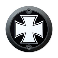 Barracuda Custom Accessories Black Modern Iron/Maltese Cross Cam Cover Badge