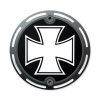 Barracuda Custom Accessories Black Slotted Iron/Maltese Cross Cam Cover Badge