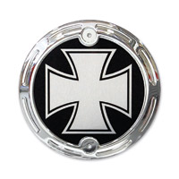 Barracuda Custom Accessories Chrome Slotted Iron/Maltese Cross Cam Cover Badge