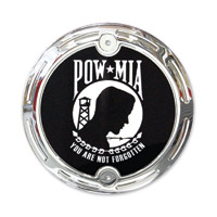 Barracuda Custom Accessories Chrome Slotted Pow/Mia Cam Cover Badge