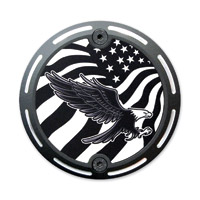 Barracuda Custom Accessories Black Slotted Bald Eagle/U.S. Flag Cam Cover Badge