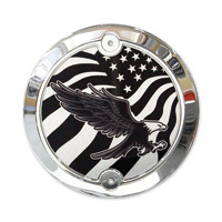 Barracuda Custom Accessories Chrome Modern Bald Eagle/U.S. Flag Cam Cover Badge