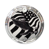 Barracuda Custom Accessories Chrome Slotted Bald Eagle/U.S. Flag Cam Cover Badge