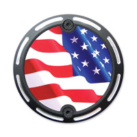 Barracuda Custom Accessories Black Slotted Stars/Stripes U.S. Flag Cam Cover Badge