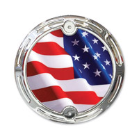 Barracuda Custom Accessories Chrome Slotted Stars/Stripes U.S. Flag Cam Cover Badge