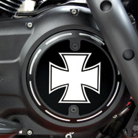Barracuda Custom Accessories Black Slotted Iron / Maltese Cross Derby Cover