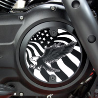 Barracuda Custom Accessories Black Modern Bald Eagle / U.S. Flag Derby Cover