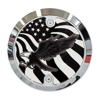 Barracuda Custom Accessories Chrome Modern Bald Eagle/U.S. Flag Derby Cover