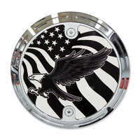 Barracuda Custom Accessories Chrome Slotted Bald Eagle / U.S. Flag Derby Cover