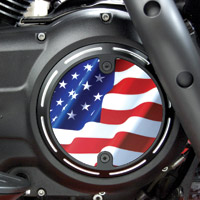 Barracuda Custom Accessories Black Slotted Stars and Stripes U.S. Flag Derby Cover