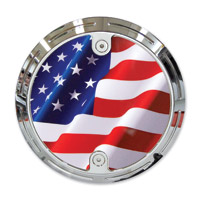 Barracuda Custom Accessories Chrome Slottted Stars and Stripes / U.S. Flag Derby Cover