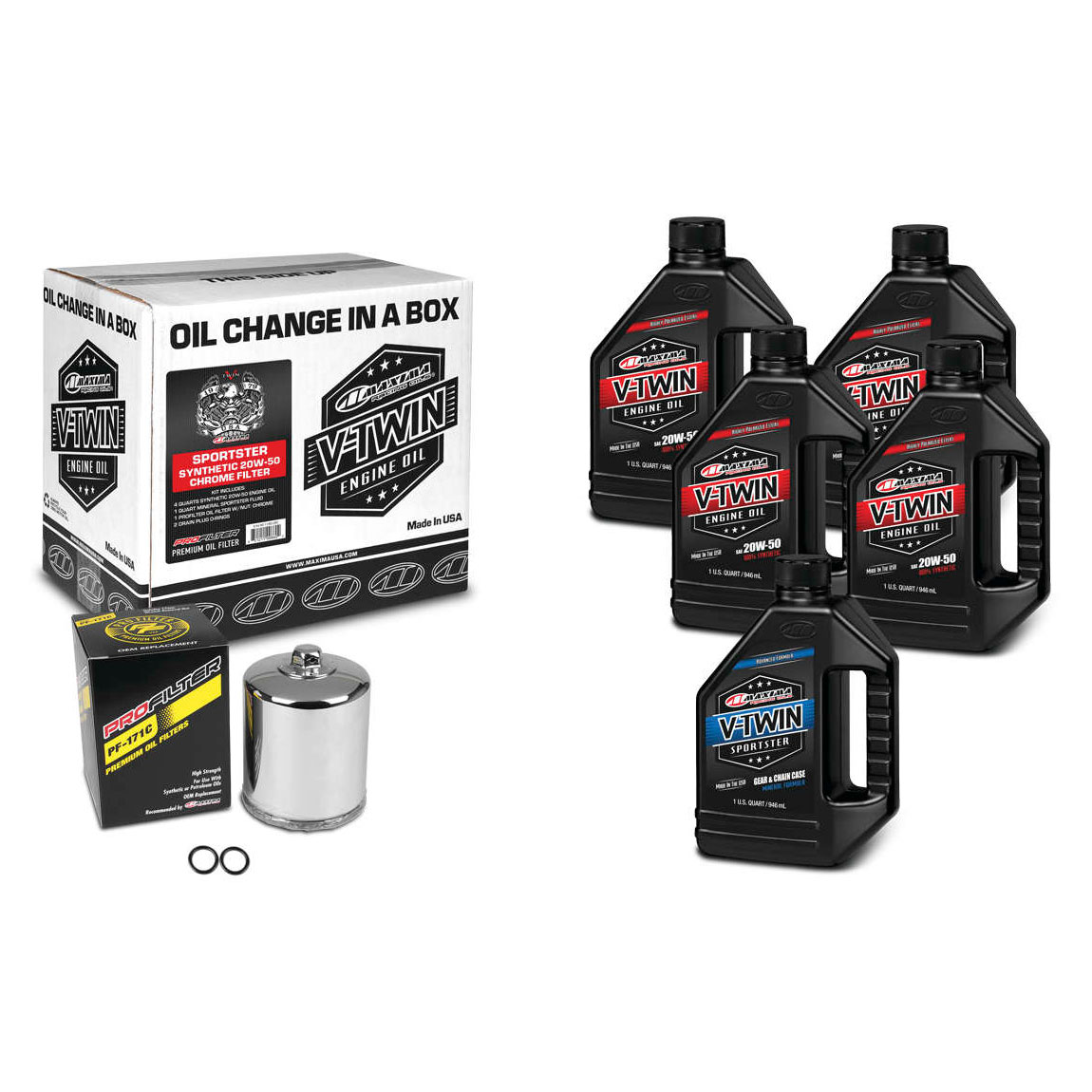 Maxima 20W-50 Synthetic Complete Oil Change Kit
