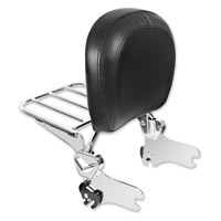 HogWorkz Quick Detachable Chrome Sissy Bar Backrest with Luggage Rack